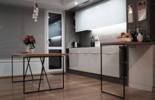 Най-новата и най-висок клас луксозна кухня Dream. Уникална визия в стил минимализъм по проект на Орак Студио. Вложени материали - фронт бял Lacobel, работни плотове CONCRETE. Мебелен обков BLUM, HETTICH, SCHUCO. Пълно вграждане на аспиратори, електроуреди, контакти, LED осветление. Проектът включва разтегателна маса за хранене, ниска маса и бар-плот, изпълнени с елегантна конструкция от оксидиран метал и слепени плотове с дървесен декор. Създадена за ценители на лукса. Изработена и монтирана от фирма Торо Мебел ООД.